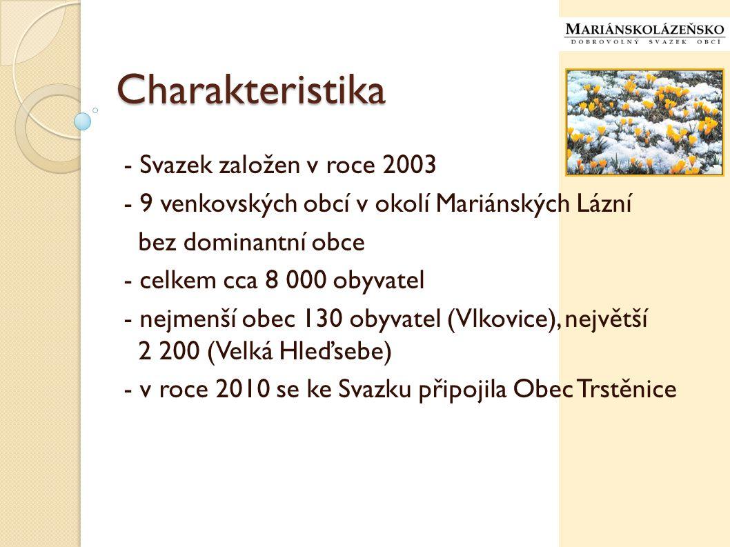 Charakteristika - Svazek založen v roce 2003 - 9 venkovských obcí v okolí Mariánských Lázní bez dominantní obce - celkem cca 8 000 obyvatel - nejmenší