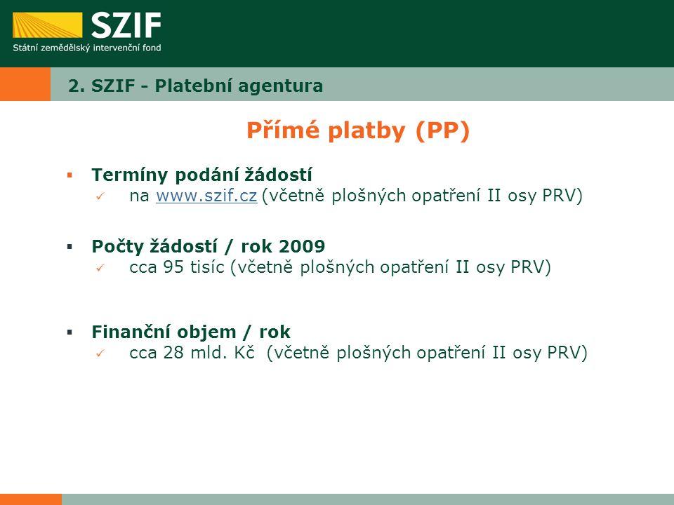 2. SZIF - Platební agentura Přímé platby (PP)  Termíny podání žádostí na www.szif.cz (včetně plošných opatření II osy PRV)www.szif.cz  Počty žádostí