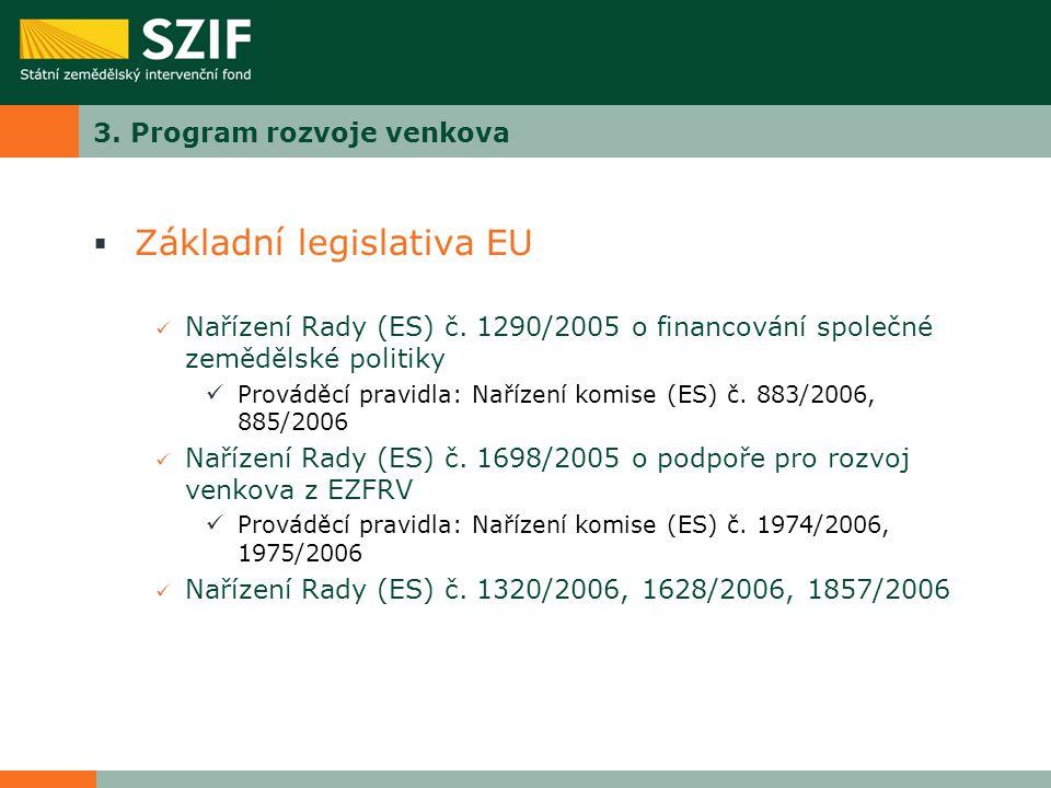 3. Program rozvoje venkova  Základní legislativa EU Nařízení Rady (ES) č. 1290/2005 o financování společné zemědělské politiky Prováděcí pravidla: Na