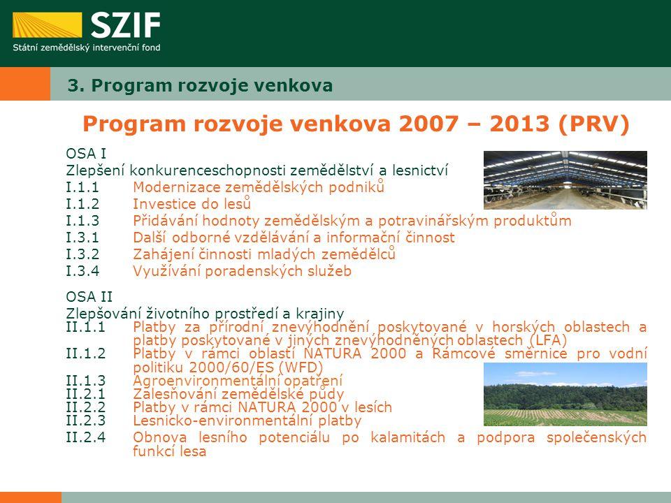 3. Program rozvoje venkova Program rozvoje venkova 2007 – 2013 (PRV) OSA I Zlepšení konkurenceschopnosti zemědělství a lesnictví I.1.1Modernizace země