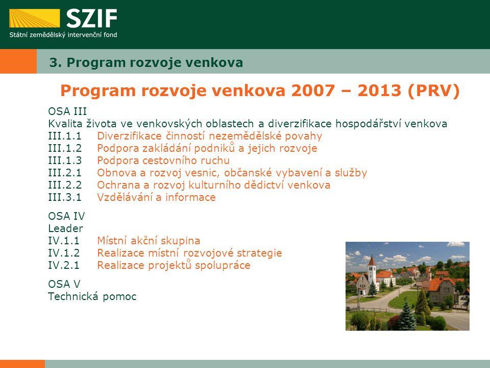 3. Program rozvoje venkova Program rozvoje venkova 2007 – 2013 (PRV) OSA III Kvalita života ve venkovských oblastech a diverzifikace hospodářství venk