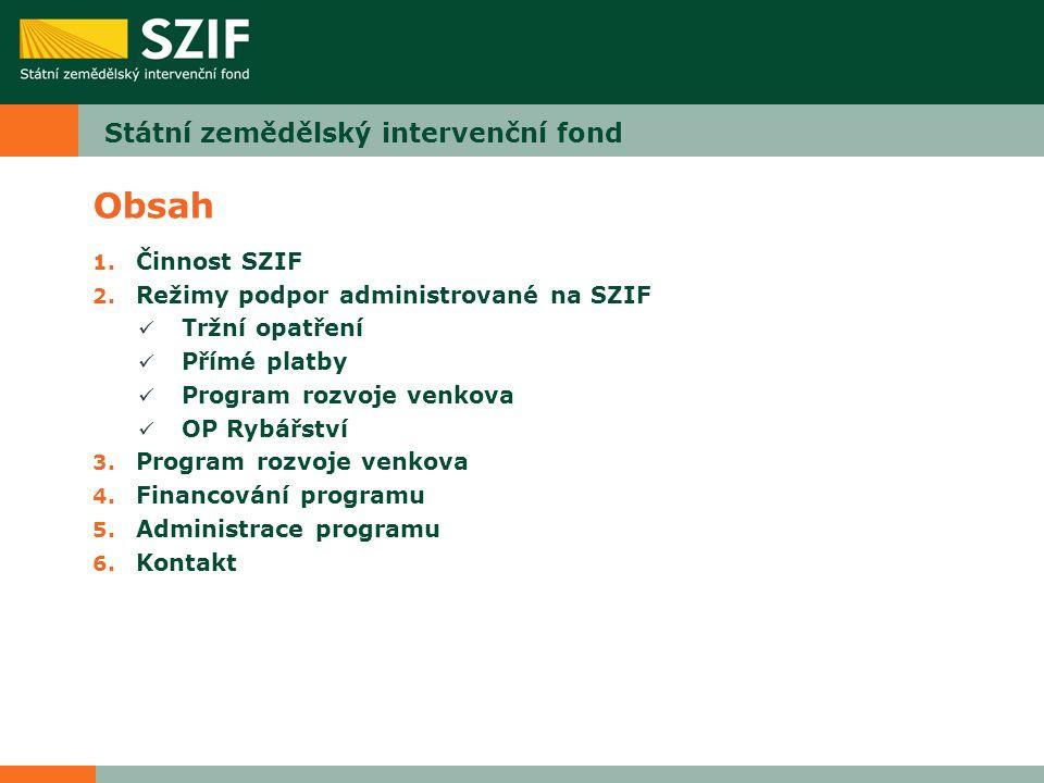 Obsah 1. Činnost SZIF 2. Režimy podpor administrované na SZIF Tržní opatření Přímé platby Program rozvoje venkova OP Rybářství 3. Program rozvoje venk