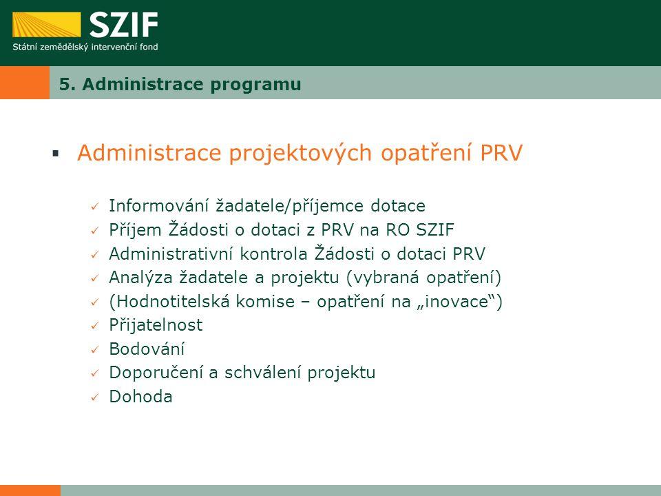 5. Administrace programu  Administrace projektových opatření PRV Informování žadatele/příjemce dotace Příjem Žádosti o dotaci z PRV na RO SZIF Admini