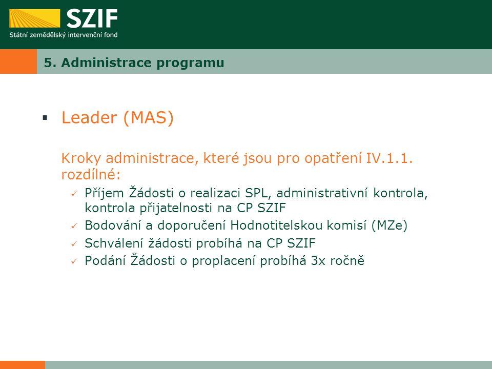 5. Administrace programu  Leader (MAS) Kroky administrace, které jsou pro opatření IV.1.1. rozdílné: Příjem Žádosti o realizaci SPL, administrativní
