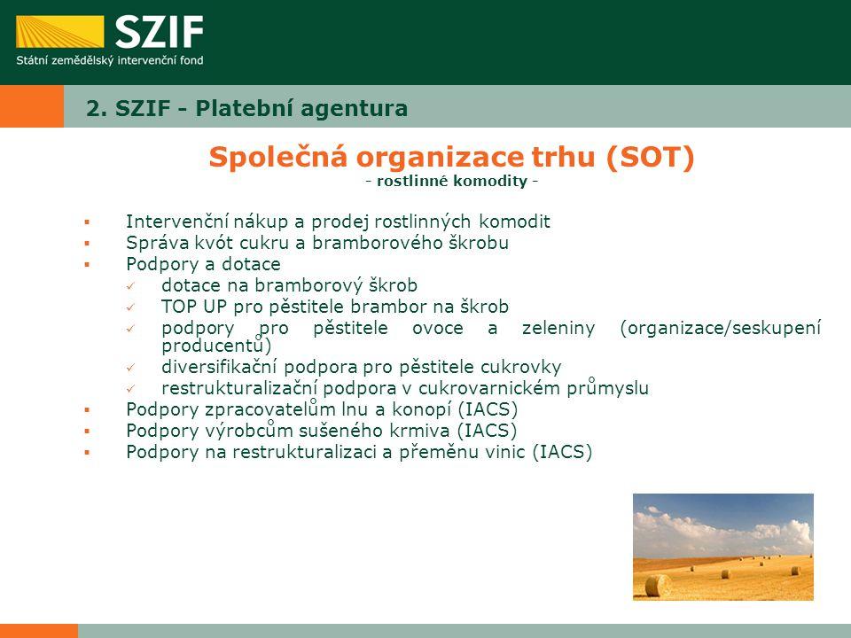 2. SZIF - Platební agentura Společná organizace trhu (SOT) - rostlinné komodity -  Intervenční nákup a prodej rostlinných komodit  Správa kvót cukru