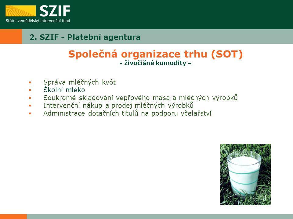 2. SZIF - Platební agentura Společná organizace trhu (SOT) - živočišné komodity –  Správa mléčných kvót  Školní mléko  Soukromé skladování vepřovéh