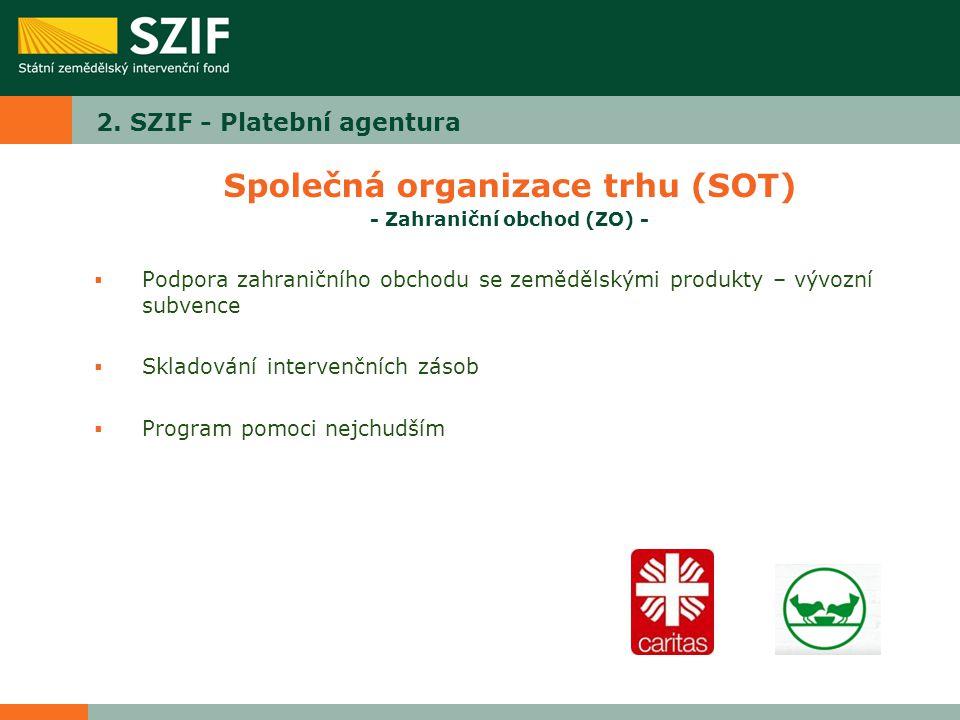 2. SZIF - Platební agentura Společná organizace trhu (SOT) - Zahraniční obchod (ZO) -  Podpora zahraničního obchodu se zemědělskými produkty – vývozn