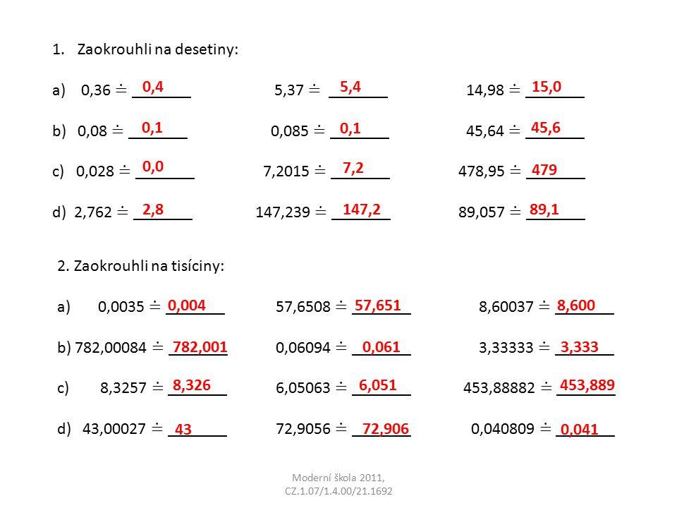 Moderní škola 2011, CZ.1.07/1.4.00/21.1692 Počet bodůHodnocení 24 – 22Výborně 21 – 18Velmi dobře 17 - 11Dobře 10 - 6Dostatečně 5 - 0Je třeba se učit.