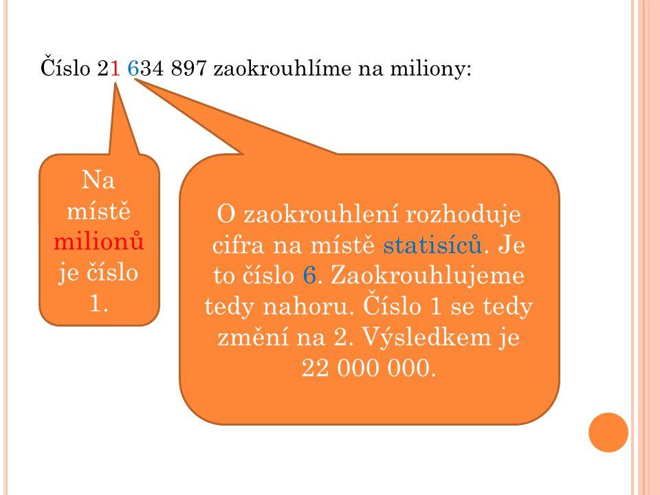 Číslo 21 634 897 zaokrouhlíme na miliony: Na místě milionů je číslo 1. O zaokrouhlení rozhoduje cifra na místě statisíců. Je to číslo 6. Zaokrouhlujem