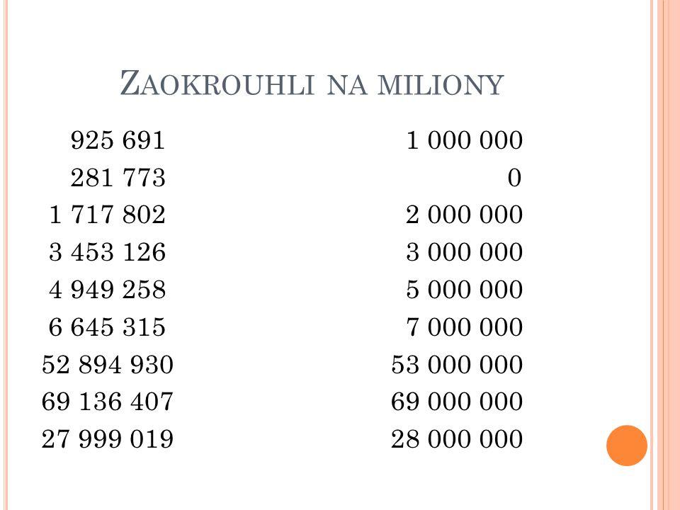 Zaokrouhlina tisícena desetitisíce na statisícena miliony 45 563 245 2 887 560 7 216 369 45 563 00045 560 000 45 600 000 46 000 000 2 888 0002 890 000 2 900 000 3 000 000 7 216 000 7 220 0007 200 000 7 000 000