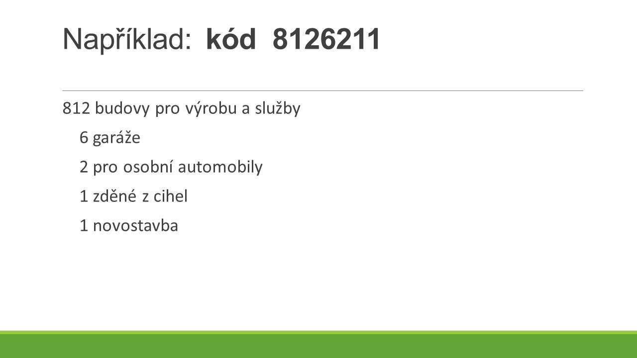 Například: kód 8126211 812 budovy pro výrobu a služby 6 garáže 2 pro osobní automobily 1 zděné z cihel 1 novostavba