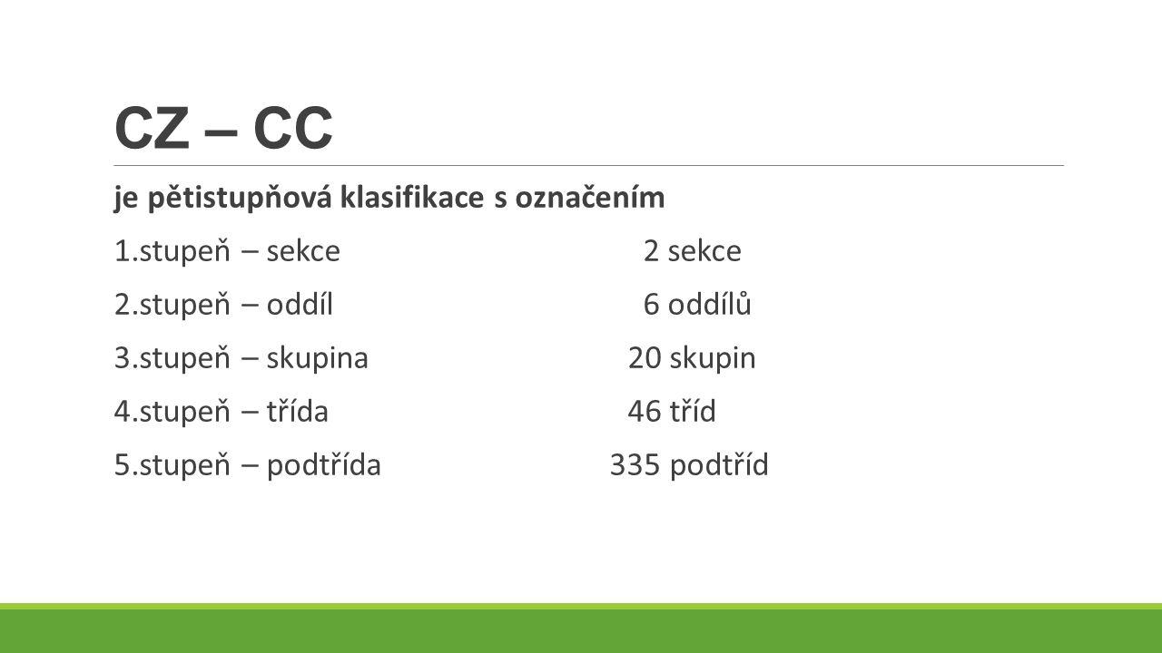 CZ – CC je pětistupňová klasifikace s označením 1.stupeň – sekce 2 sekce 2.stupeň – oddíl 6 oddílů 3.stupeň – skupina20 skupin 4.stupeň – třída46 tříd