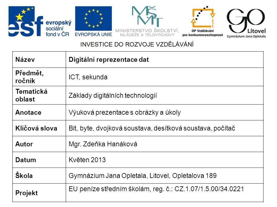 NázevDigitální reprezentace dat Předmět, ročník ICT, sekunda Tematická oblast Základy digitálních technologií AnotaceVýuková prezentace s obrázky a úk