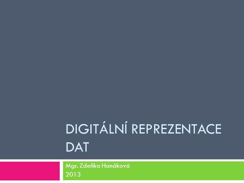 DIGITÁLNÍ REPREZENTACE DAT Mgr. Zdeňka Hanáková 2013