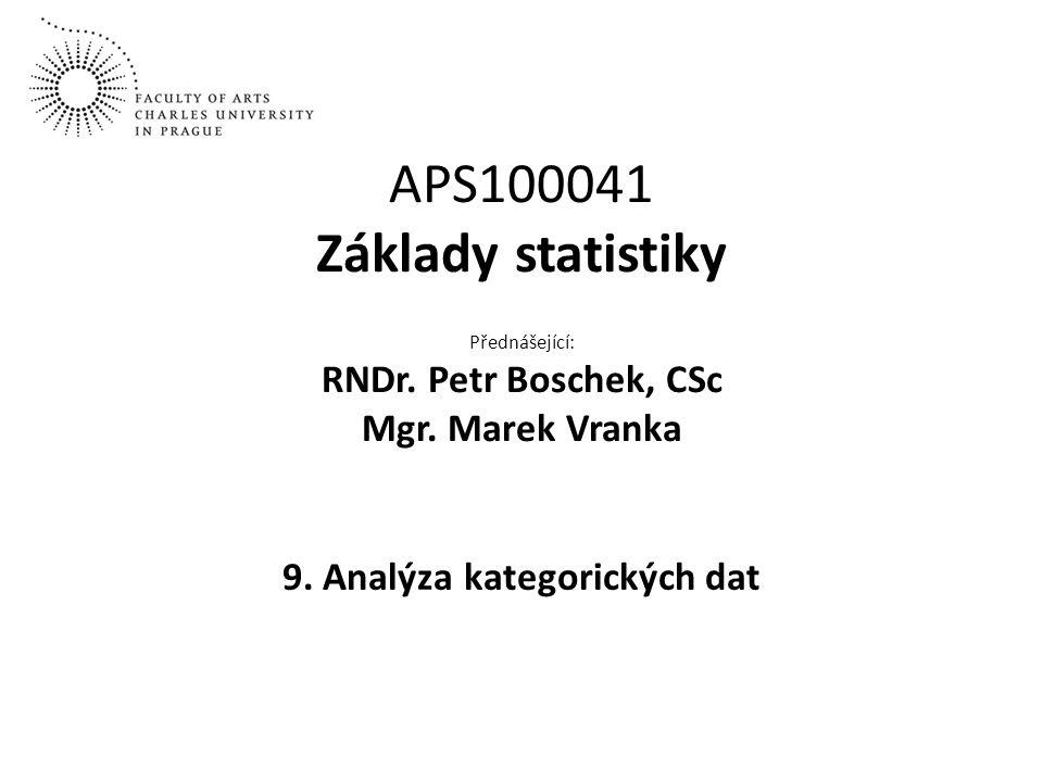 APS100041 Základy statistiky Přednášející: RNDr. Petr Boschek, CSc Mgr. Marek Vranka 9. Analýza kategorických dat