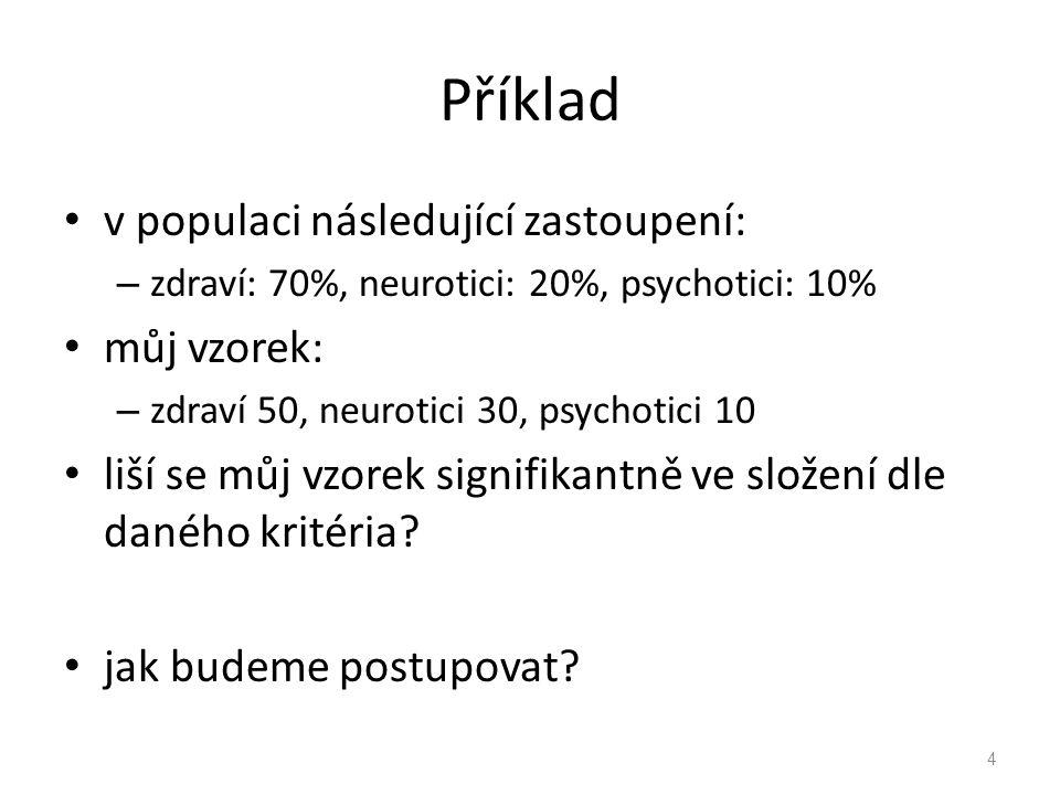 Příklad v populaci následující zastoupení: – zdraví: 70%, neurotici: 20%, psychotici: 10% můj vzorek: – zdraví 50, neurotici 30, psychotici 10 liší se