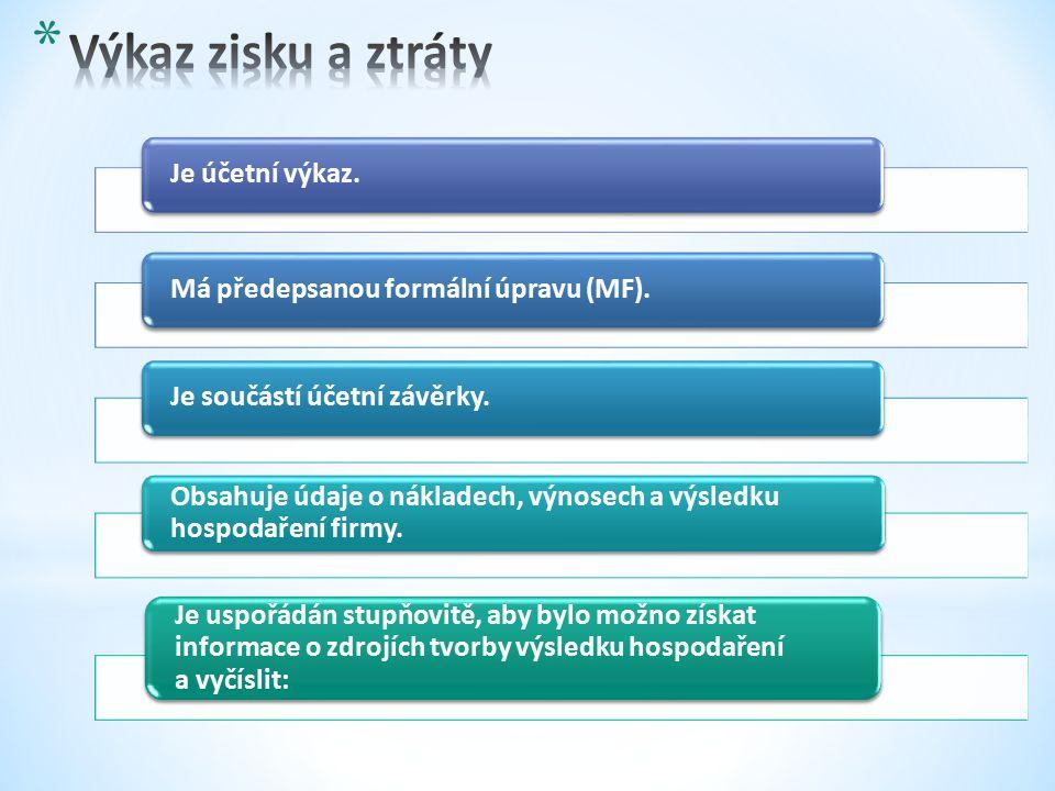 Je účetní výkaz.Má předepsanou formální úpravu (MF).Je součástí účetní závěrky.