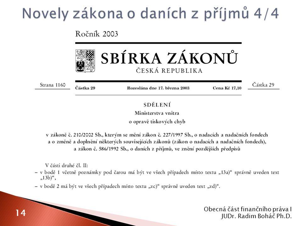 Obecná část finančního práva I JUDr. Radim Boháč Ph.D. 14