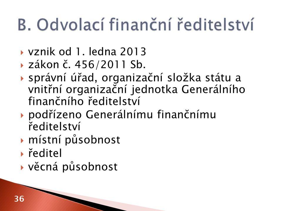  vznik od 1. ledna 2013  zákon č. 456/2011 Sb.