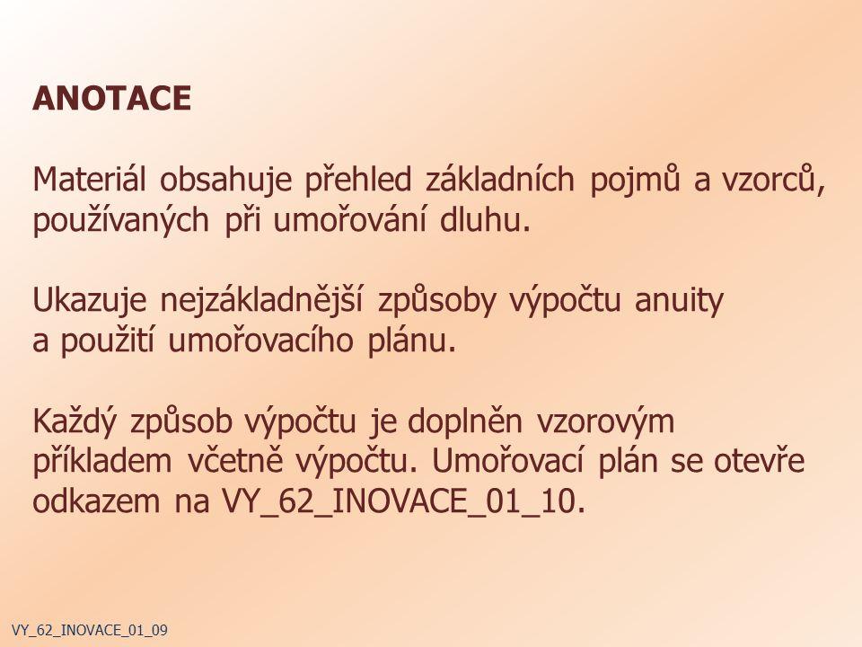 ANOTACE Materiál obsahuje přehled základních pojmů a vzorců, používaných při umořování dluhu.
