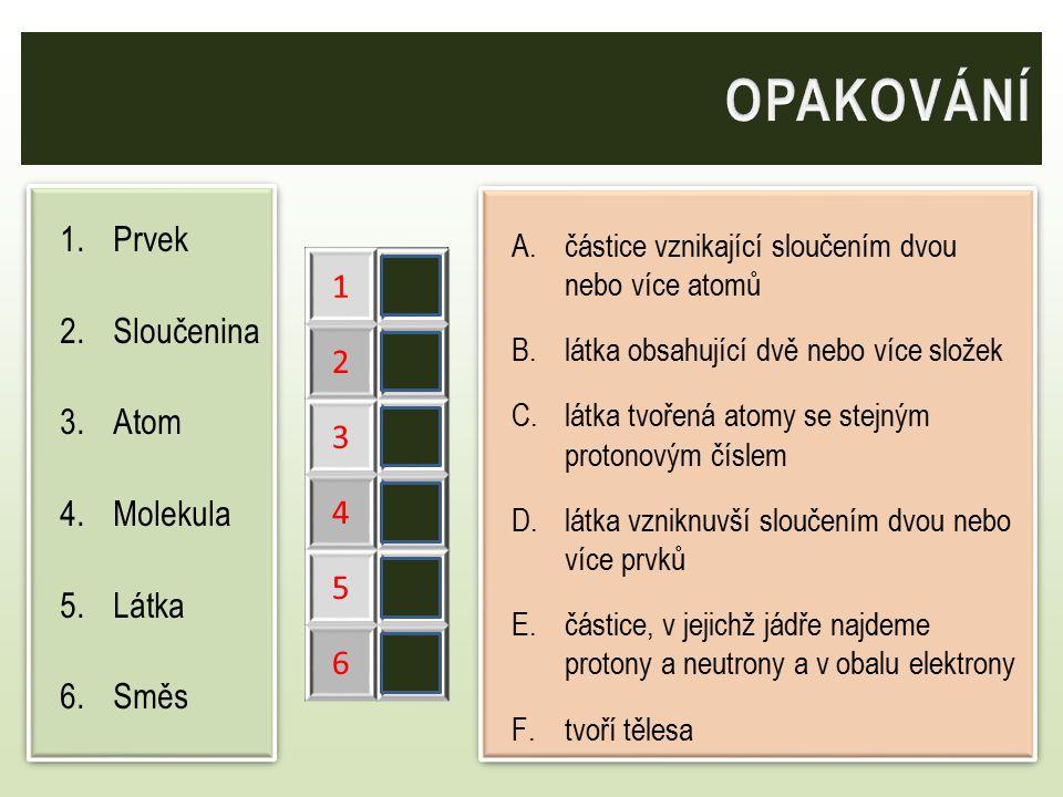 1.Prvek 2.Sloučenina 3.Atom 4.Molekula 5.Látka 6.Směs 1.Prvek 2.Sloučenina 3.Atom 4.Molekula 5.Látka 6.Směs A.částice vznikající sloučením dvou nebo v