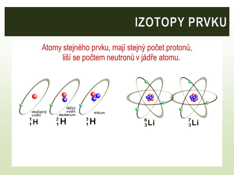 Atomy stejného prvku, mají stejný počet protonů, liší se počtem neutronů v jádře atomu.