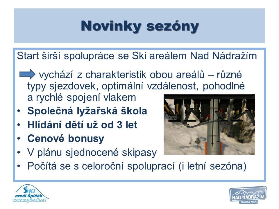 Novinky sezóny Start širší spolupráce se Ski areálem Nad Nádražím vychází z charakteristik obou areálů – různé typy sjezdovek, optimální vzdálenost, p