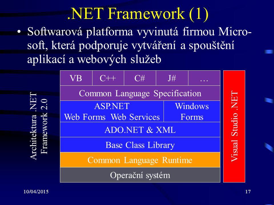 10/04/201517.NET Framework (1) Softwarová platforma vyvinutá firmou Micro- soft, která podporuje vytváření a spouštění aplikací a webových služeb Oper