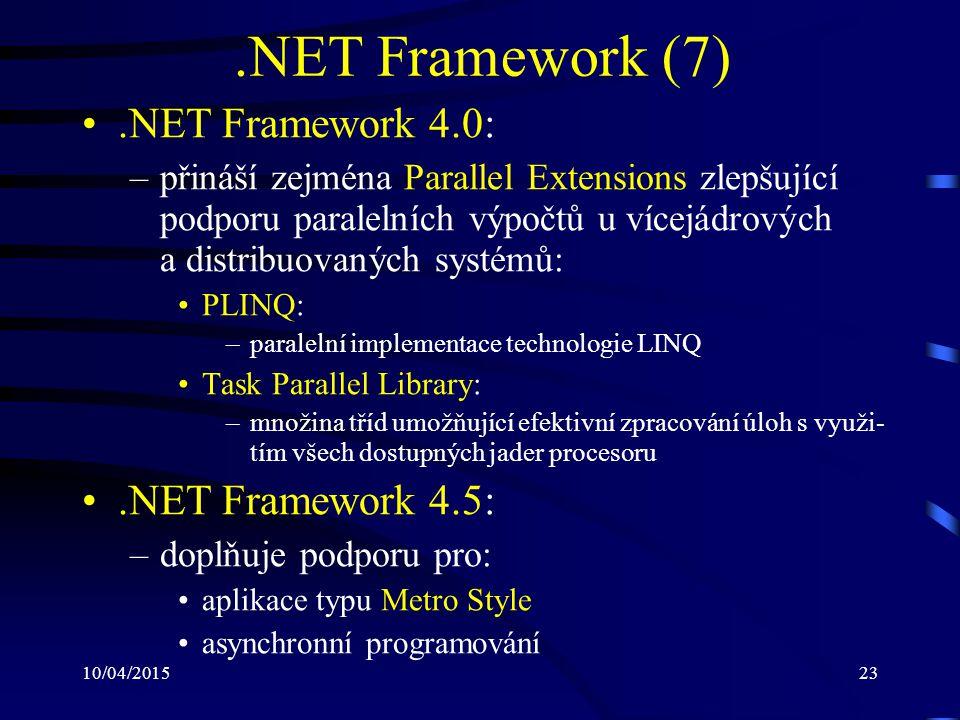 10/04/201523.NET Framework (7).NET Framework 4.0: –přináší zejména Parallel Extensions zlepšující podporu paralelních výpočtů u vícejádrových a distri