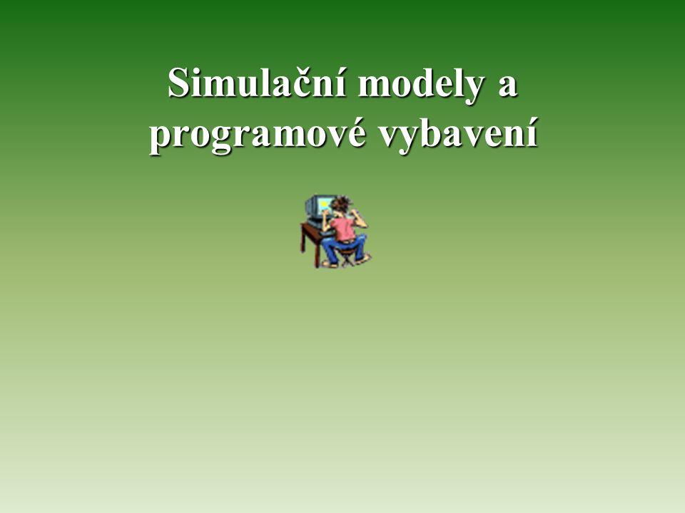 Vývoj simulačních programů  Původně pouze strojový kód –Příliš dlouhé, náročné na programátora, obtížné hledání chyb  Assembler – o něco vyšší úroveň  Problémově orientované jazyky –Syntaxe vhodná pro řešení daného problému –Cobol, Fortran, Basic, Pascal, C, Lisp –Nutnost napsat skutečný program dle synatxe jazyka a logiky modelu