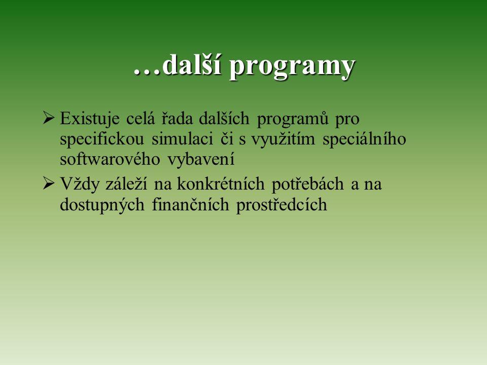 …další programy  Existuje celá řada dalších programů pro specifickou simulaci či s využitím speciálního softwarového vybavení  Vždy záleží na konkrétních potřebách a na dostupných finančních prostředcích