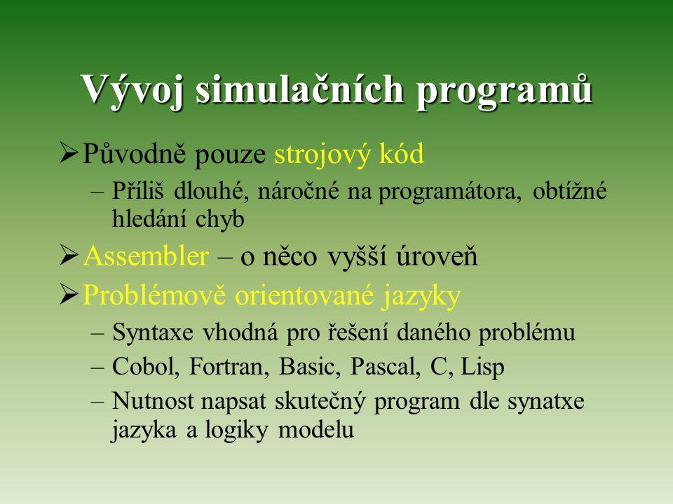 Vývoj simulačních programů  Původně pouze strojový kód –Příliš dlouhé, náročné na programátora, obtížné hledání chyb  Assembler – o něco vyšší úrove