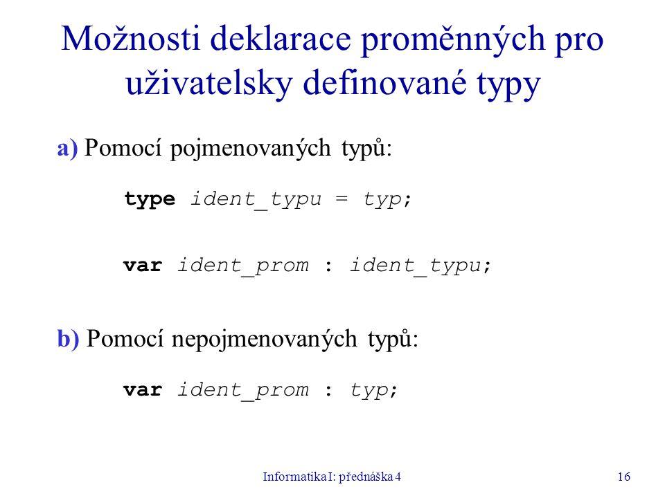 Informatika I: přednáška 416 Možnosti deklarace proměnných pro uživatelsky definované typy a) Pomocí pojmenovaných typů: type ident_typu = typ; var ident_prom : ident_typu; b) Pomocí nepojmenovaných typů: var ident_prom : typ;