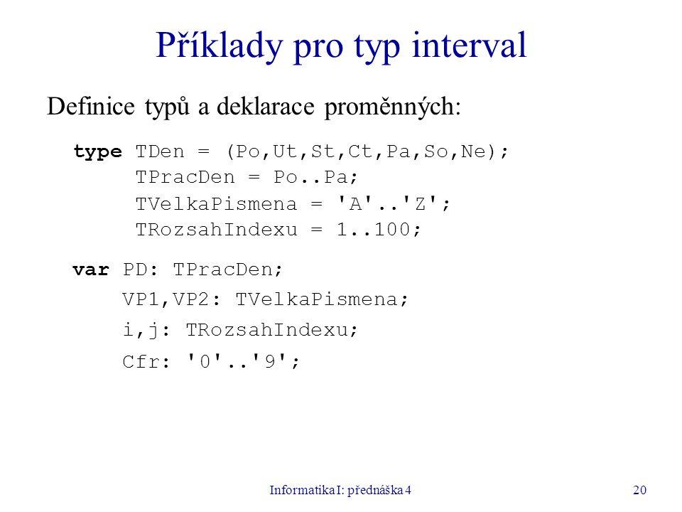 Informatika I: přednáška 420 Příklady pro typ interval Definice typů a deklarace proměnných: type TDen = (Po,Ut,St,Ct,Pa,So,Ne); TPracDen = Po..Pa; TVelkaPismena = A ..