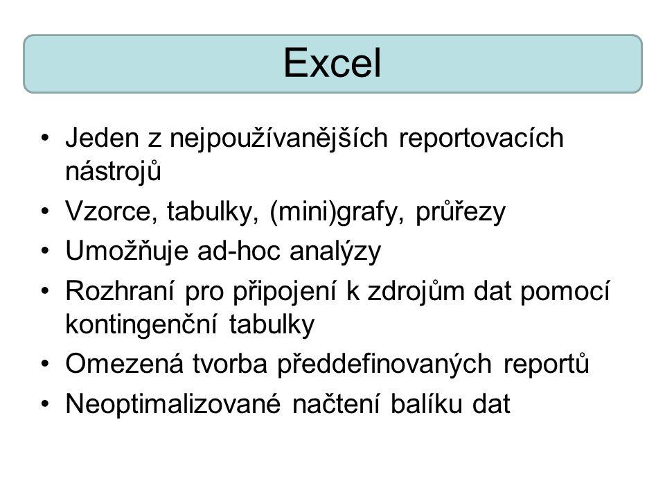 Excel Jeden z nejpoužívanějších reportovacích nástrojů Vzorce, tabulky, (mini)grafy, průřezy Umožňuje ad-hoc analýzy Rozhraní pro připojení k zdrojům