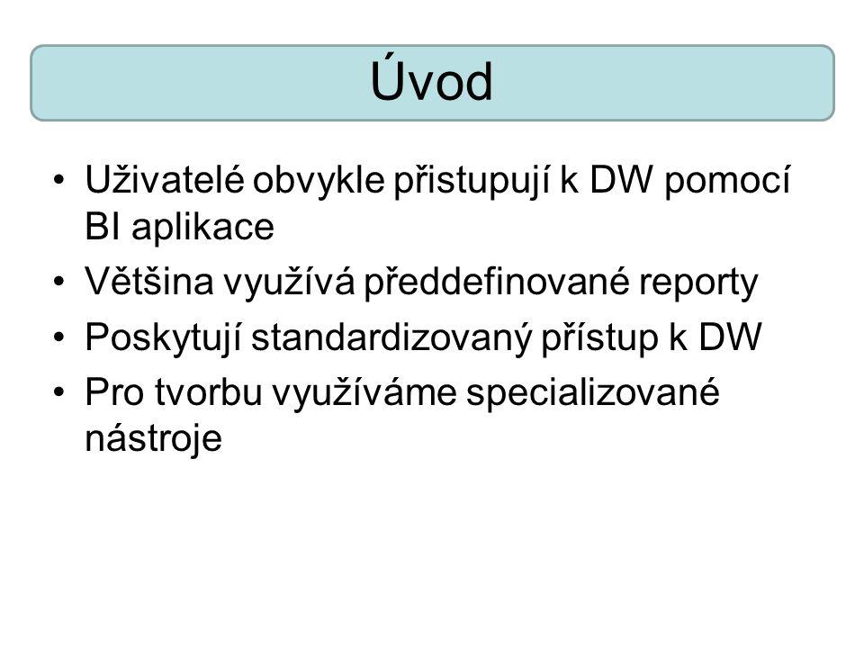 Úvod Uživatelé obvykle přistupují k DW pomocí BI aplikace Většina využívá předdefinované reporty Poskytují standardizovaný přístup k DW Pro tvorbu vyu