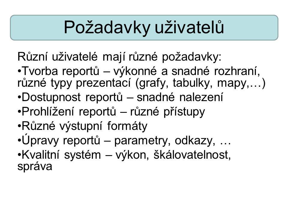 Požadavky uživatelů Různí uživatelé mají různé požadavky: Tvorba reportů – výkonné a snadné rozhraní, různé typy prezentací (grafy, tabulky, mapy,…) D