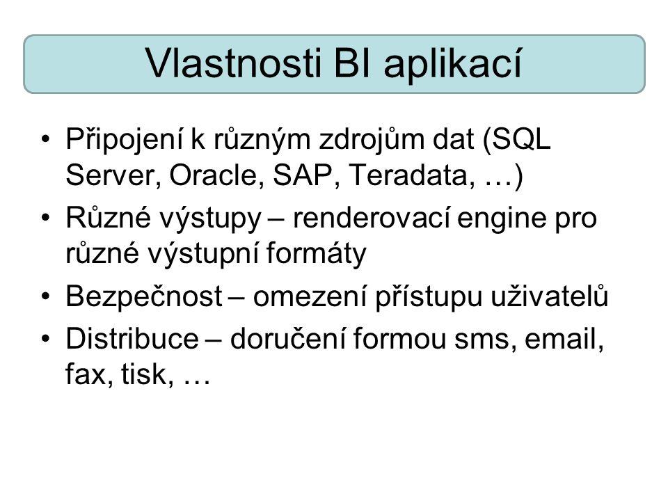 Vlastnosti BI aplikací Připojení k různým zdrojům dat (SQL Server, Oracle, SAP, Teradata, …) Různé výstupy – renderovací engine pro různé výstupní for