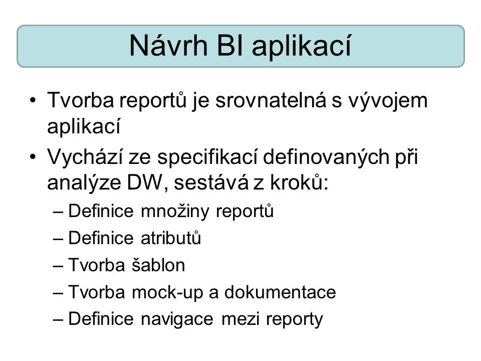 Návrh BI aplikací Tvorba reportů je srovnatelná s vývojem aplikací Vychází ze specifikací definovaných při analýze DW, sestává z kroků: –Definice množ