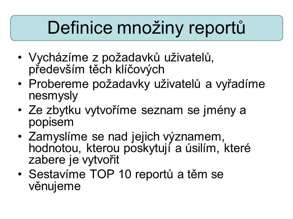 Definice množiny reportů Vycházíme z požadavků uživatelů, především těch klíčových Probereme požadavky uživatelů a vyřadíme nesmysly Ze zbytku vytvoří