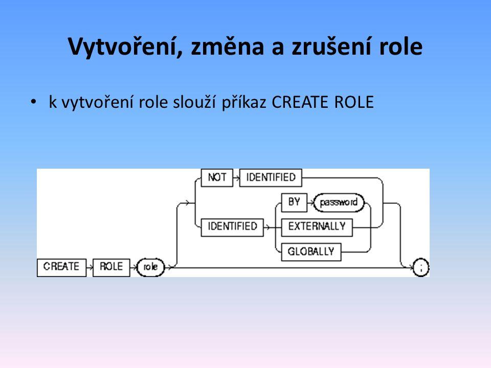 Vytvoření, změna a zrušení role k vytvoření role slouží příkaz CREATE ROLE