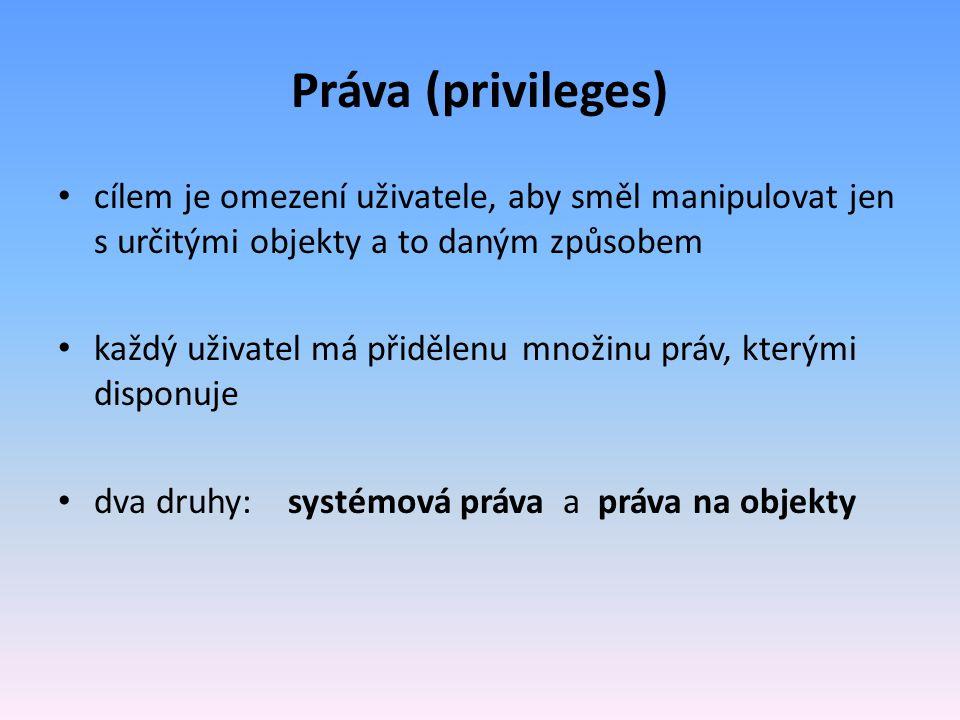 Práva (privileges) cílem je omezení uživatele, aby směl manipulovat jen s určitými objekty a to daným způsobem každý uživatel má přidělenu množinu prá