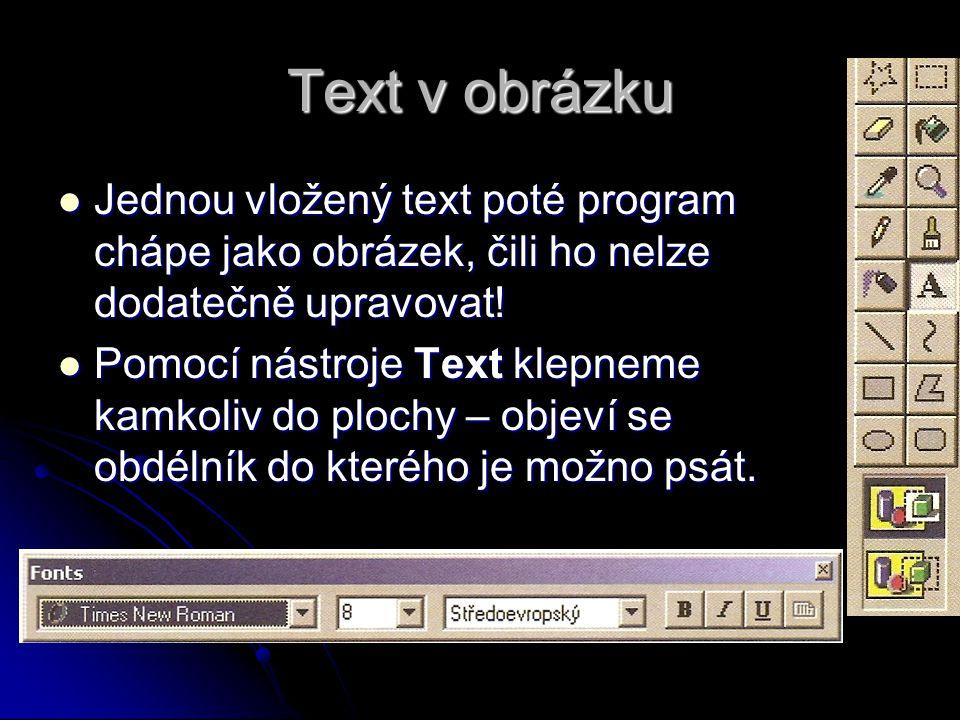 Text v obrázku Jednou vložený text poté program chápe jako obrázek, čili ho nelze dodatečně upravovat.