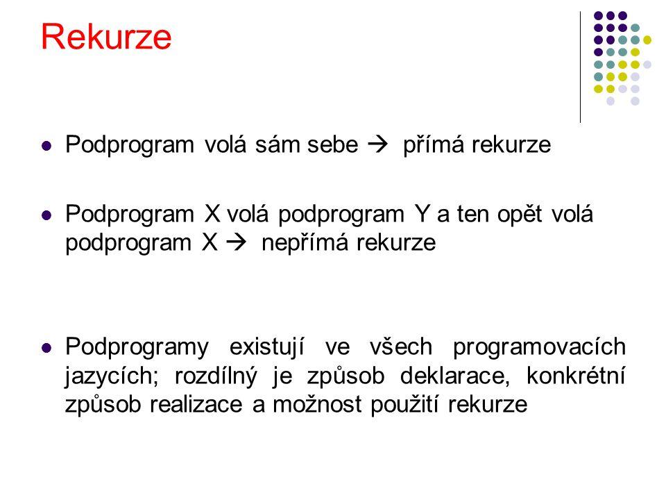 Rekurze Podprogram volá sám sebe  přímá rekurze Podprogram X volá podprogram Y a ten opět volá podprogram X  nepřímá rekurze Podprogramy existují ve všech programovacích jazycích; rozdílný je způsob deklarace, konkrétní způsob realizace a možnost použití rekurze