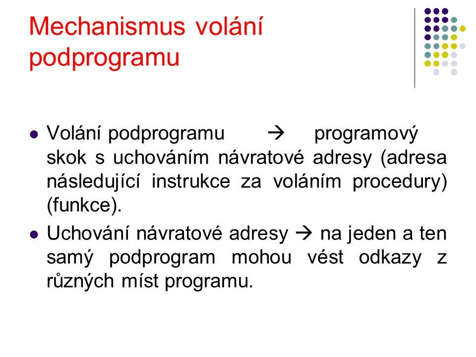 Mechanismus volání podprogramu Volání podprogramu  programový skok s uchováním návratové adresy (adresa následující instrukce za voláním procedury) (