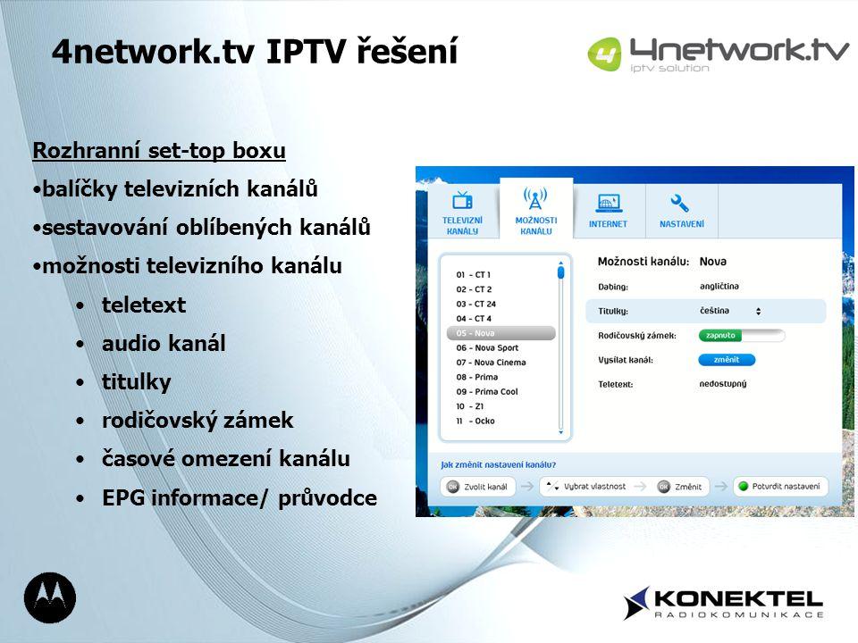 Page 15 4network.tv IPTV řešení Rozhranní set-top boxu balíčky televizních kanálů sestavování oblíbených kanálů možnosti televizního kanálu teletext a