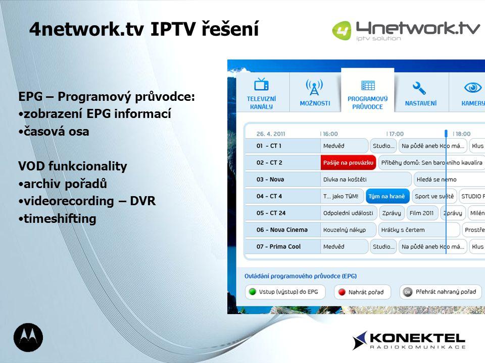 Page 18 4network.tv IPTV řešení EPG – Programový průvodce: zobrazení EPG informací časová osa VOD funkcionality archiv pořadů videorecording – DVR tim