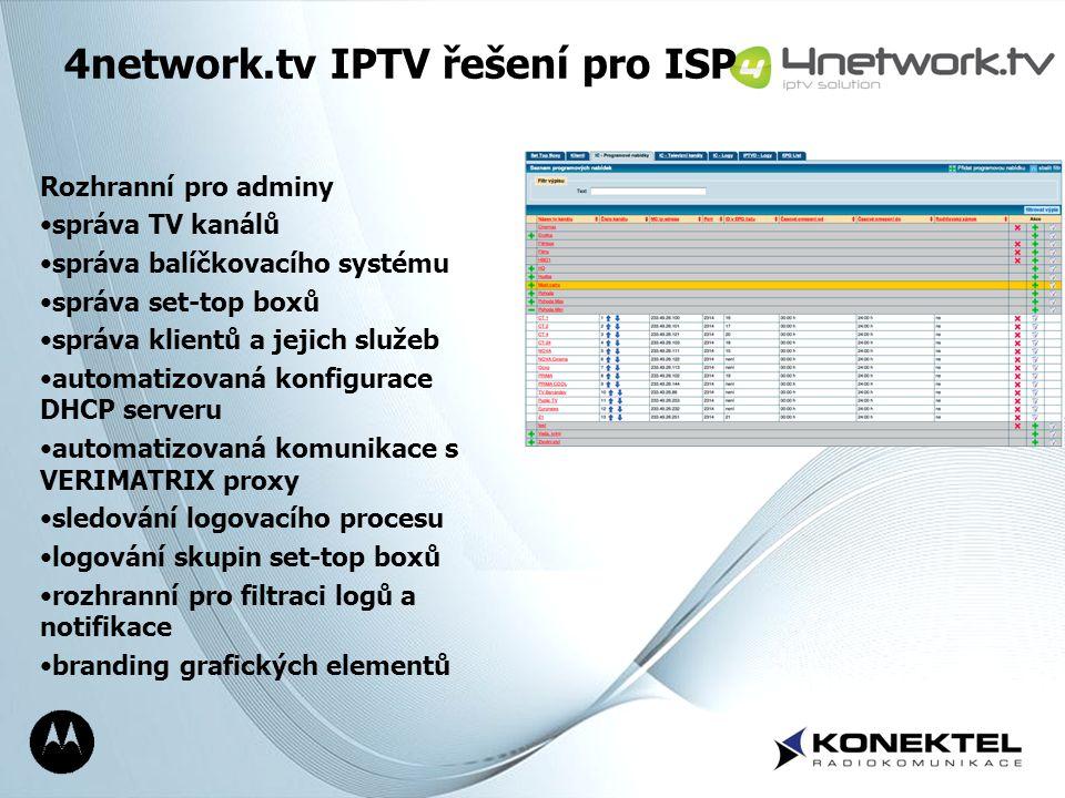 Page 19 4network.tv IPTV řešení pro ISP Rozhranní pro adminy správa TV kanálů správa balíčkovacího systému správa set-top boxů správa klientů a jejich