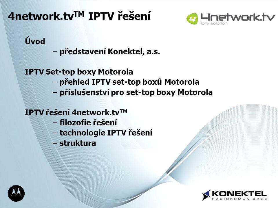 Page 2 Úvod –představení Konektel, a.s. IPTV Set-top boxy Motorola –přehled IPTV set-top boxů Motorola –příslušenství pro set-top boxy Motorola IPTV ř
