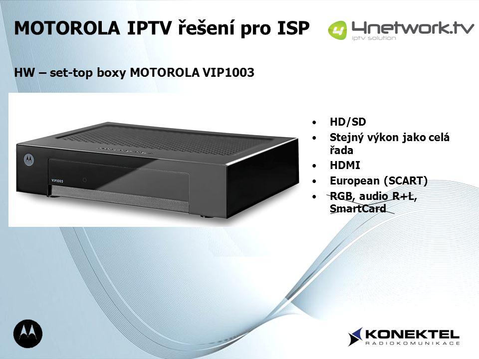 Page 6 HD/SD Stejný výkon jako celá řada HDMI European (SCART) RGB, audio R+L, SmartCard MOTOROLA IPTV řešení pro ISP HW – set-top boxy MOTOROLA VIP10